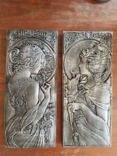 #2 Art Deco Nouveau mocha architectural plaster wall hanging pewter plaques new