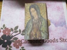 """3 1/2"""" x 2 1/2"""" x 2 1/4"""" Wooden Our Lady Guadalupe Rosary  Box."""