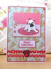 Handmade Pug Dog Christmas Card Large Cute Santa Hat Lights OOAK
