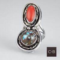 Vintage Native American Navajo HUGE Double Turquoise + Coral RIng Sz 4.5