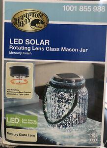 Led Solar Rotating Lens Glass Mason Jar