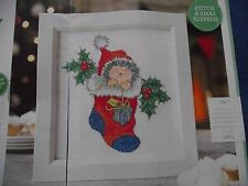 MARGARET SHERRY'S ADORABLE HEDGEHOG IN CHRISTMAS STOCKING CROSS STITCH CHART