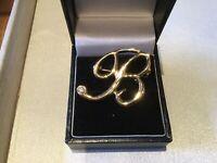 Gold Plated Single Clear Crystal Rhinestone Brooch Letter B