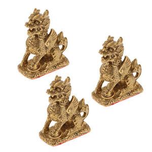 3x Chinese Copper Feng Shui Animal Kylin Qilin Beast Wealth Statue Creative Gift