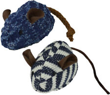 OURPETS PLAY CREW MICE DENIM BLUE MIXED CATNIP KITTEN CAT TOY 2PK. FREE SHIP USA