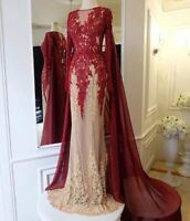 Arabic Muslim Lace Appliques Evening Dress Formal Long Prom Party Gown with Cape