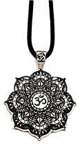 Buddhist Necklace OM Mandala Pendant Healing Flower Lotus Tibetan UK Stock