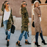 Womens Long Sleeve Loose Cardigan Leopard Kimono Blouse Tops Coat Jacket Outwear