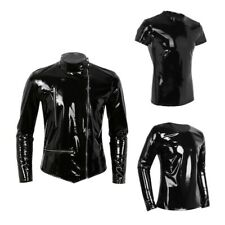 Men Sexy Underwear T-shirt  Latex Rubber Zipper Shoulder Undershirt Clubwear Top
