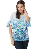 Belle Kim Gravel Womens Wildflower Ruffle Elbow Sleeve Blouse Blue Large A351270
