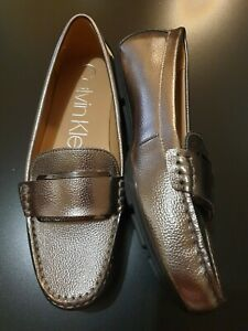 Calvin Klein Grey Shiny Loafers  Flats - Size UK6  - Brand New