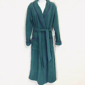 Vintage LL Bean Plush Bathrobe Size S Green with Navy Trim Pockets Made In USA