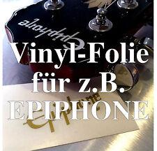 2x Vinyl-Folien Repair-Kit Kopfplatte / Headstock Decal z.B. EPIPHONE matt gold