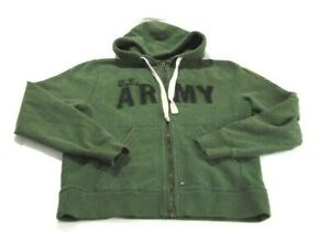 U.S. Army Hoodie Green Black Full Zip 1st Infantry Division Big Red 1 Mens Small