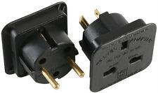 UK AC 3 Pin Plug To USA Canada & Euro Schuko 2 Pin Dual Travel Adaptor Kit,Black