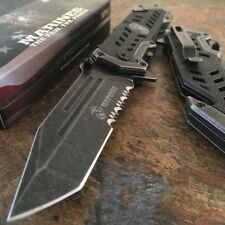 "9"" USMC Marines Spring Assisted Opening Tactical Rescue BLACK Pocket Knife"