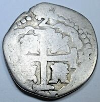 1731 Spanish Silver 2 Reales Piece of 8 Real Cob Colonial Two Bits Pirate Coin