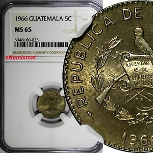 Guatemala 1966 5 Centavos SMALL DATE NGC MS65 TOP GRADED KM# 266.2 (023)