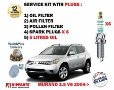 FOR NISSAN MURANO 3.5 V6 2004-2008 OIL AIR POLLEN FILTER + SPARK PLUGS + OIL KIT
