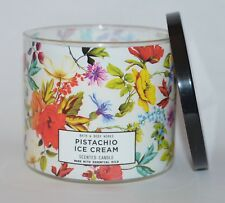 BATH & BODY WORKS PISTACHIO ICE CREAM SCENTED CANDLE 3 WICK 14.5 OZ LARGE FLORAL
