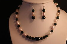"Beautiful Necklace With Freshwater Pearls And Sunstone Gemstone 16"" Inches Long"