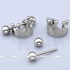 16G Stainless Steel Crown Shield Bar Ear Conch Cartilage Cuff Ring Earrings Stud