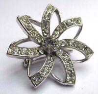 Belle broche couleur argent bijou vintage étoile incrustée cristaux diamant 2563