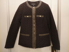 Women's Quilted Jacket ~ Jones New York Chocolate Brown - Size Small (S)