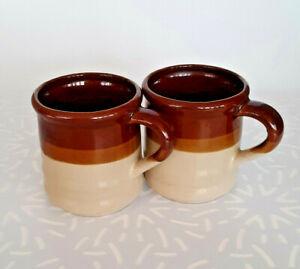 Vintage Set of 2 Brown Stripes Stoneware Mugs - Made in Japan