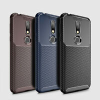 For Nokia 7.1 / 8.1 Carbon Fiber Silicone Rubber TPU Protective Back Case Cover