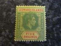 LEEWARD ISLANDS POSTAGE REVENUE STAMP SG112 5/- GREEN/RED YELLOW UMM