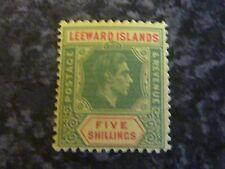 LEEWARD ISLANS POSTAGE REVENUE STAMP SG112 5/- GREEN/RED YELLOW UMM