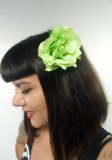 Grosse fleur rose verte pince clip cheveux broche coiffure rétro pinup vintage