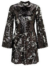 Miss Selfridge Premium Sequin Flute Sleeve Shift Dress UK 10