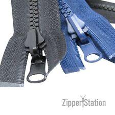 REVERSIBLE Chunky Plastic Open End Zipper (No5 Reversable Zip) - Black and Navy