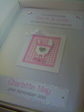 Luxury Personalised New Baby Girl Card, Swarovski crystals, boxed