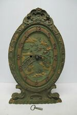Antique Syrocco Wood Easel Shelf Clock~Blue Willow/Oriental~Working Cond~w/Key