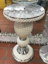 Sparkle Crushed Silver Mirrored Table Modern Flower Stand Bed Side Romany Mosaic