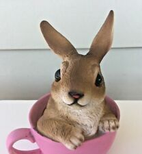 Cute Rabbit in Pink Cup Figurine Collectible Home Decoration