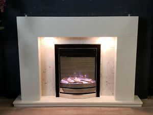 WHITE MARBLE SURROUND SILVER ELECTRIC FIRE  FIREPLACE SUITE DOWNLIGHTS