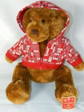 Aeropostale Store Teddy Bear Plush Red White Aero Logo Hoodie New with Tags