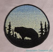 Embroidered Sunrise Grizzly Bear Silhouette Ombre Circle Patch Iron On Sew USA