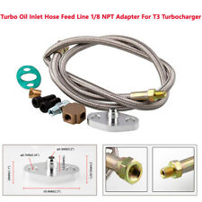 """36"""" Braided Stainless Steel Turbo Charger 1/8 NPT Fitting Hose Oil Feed Line Kit"""