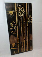 Trees by Moonlight 1972 Vtg Black Painting Hand Carved Wood Picture Night Forest
