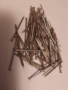 "1-1/2"" X .065"" Nickel Plated Steel Round Dome Head Escutcheon Pin Nails -100 Pcs"