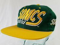 VTG AJD Seattle SuperSonics Sonics Hat NBA Snapback 90s Embroidered script