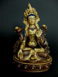Weisse Tara Statue Bodhisattva Bronze teilvergoldet Tibet Nepal Buddha Himalaya