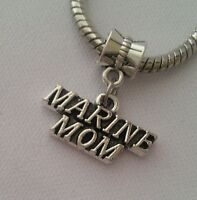 Marine Corp MOM USA Military Dangle Charm Bead Silver for European Bracelet
