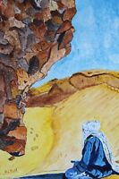 """perfact 24x36 oil painting handpainted on canvas""""an old woman and a girl""""@N3233"""
