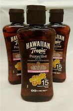 3  Bottles Hawaiian Tropic Protective Dry Sun Tan Oil SPF15 Sunscreen 100ml Mini
